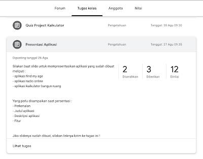 Memilih menu tugas google classroom
