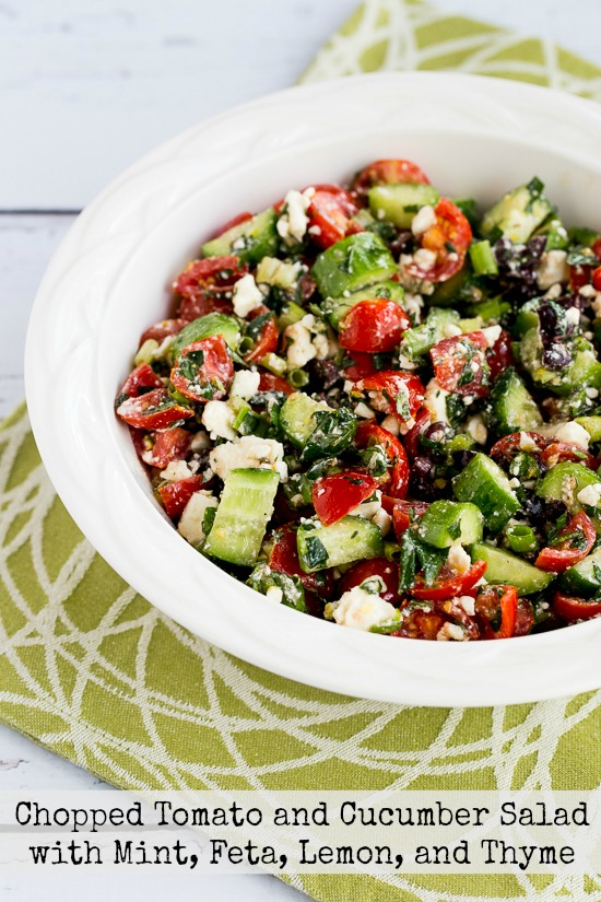Chopped Tomato and Cucumber Salad with Mint, Feta, Lemon, and Thyme found on KalynsKitchen.com