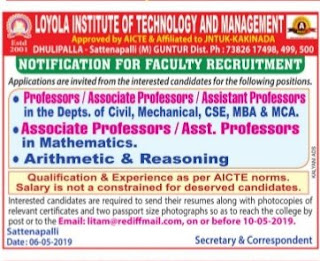 LITAM Faculty jobs in Loyola Institute of Technology And Management Assistant Professor Recruitment 2019, Sattenapalli