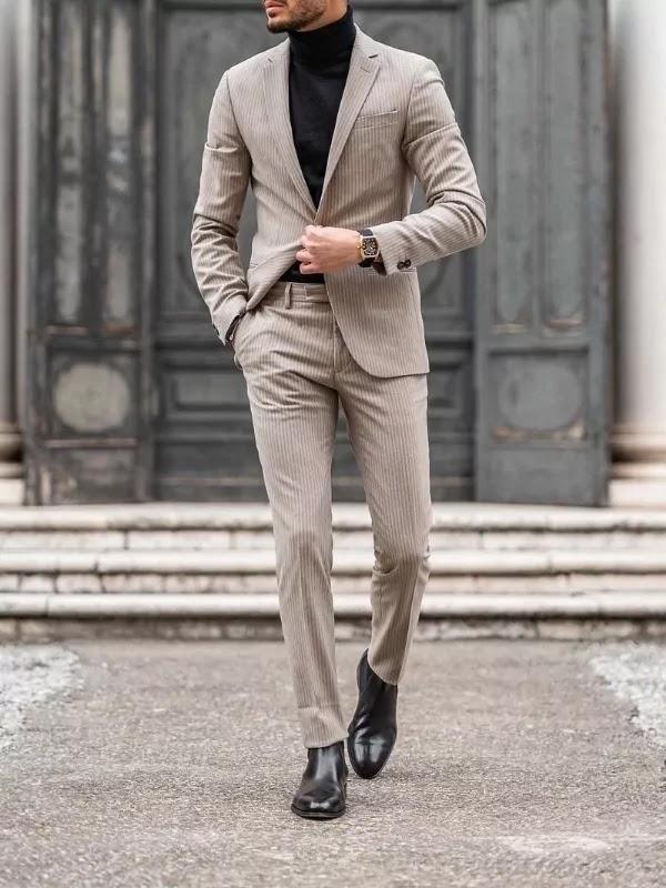 Khaki colour suit with black