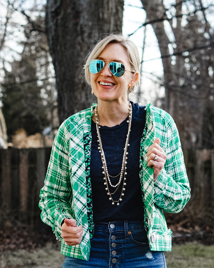 Cabi green tweed jacket