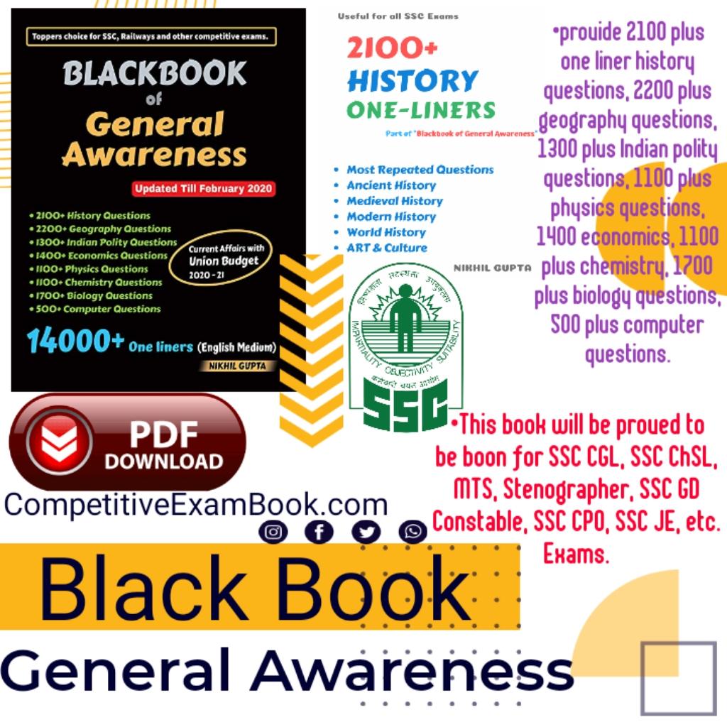 Blackbook of General Awareness [SSC CGL 2019 Tier 1 Update] PDF Download  Read more: http://www.qmaths.in/2020/03/blackbook-of-general-awareness-ssc-cgl-2019-update-pdf-download.html#ixzz6fR6IteSE