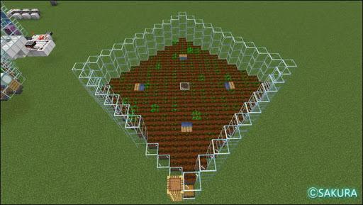 Minecraft 自動小麦農場の耕作地