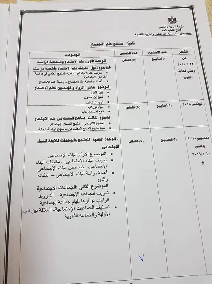 توزيع منهج علم الاجتماع