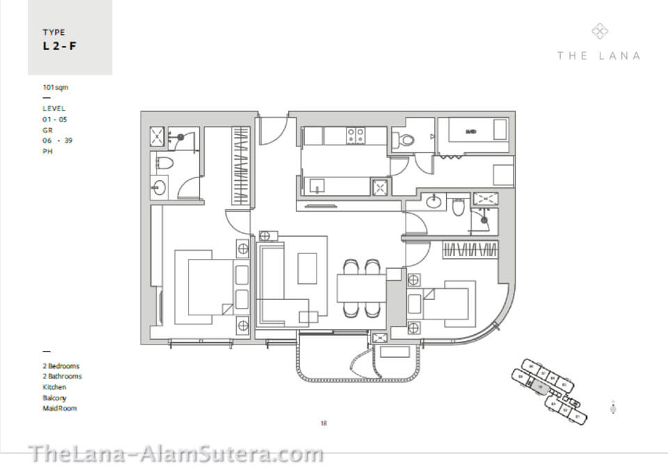 * Type L2-F Apartemen The Lana Alam Sutera