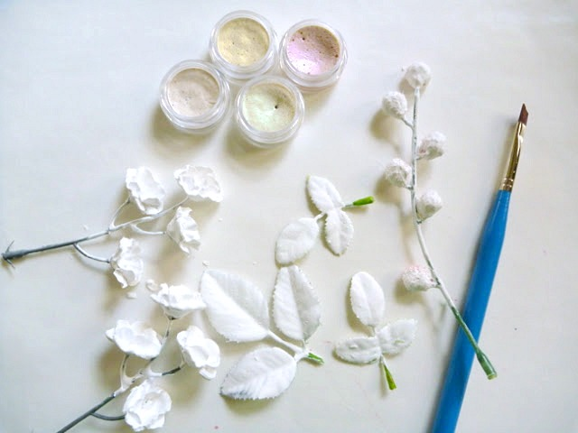 Painting Plaster Dipped Flowers with Shimmery Watercolor by Dana Tatar