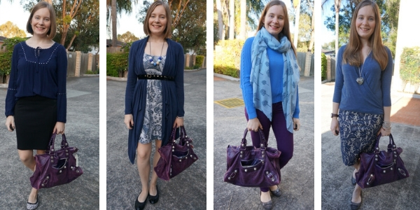 4 outfit ideas blue and purple combination with balenciaga work bag | awayfromtheblue