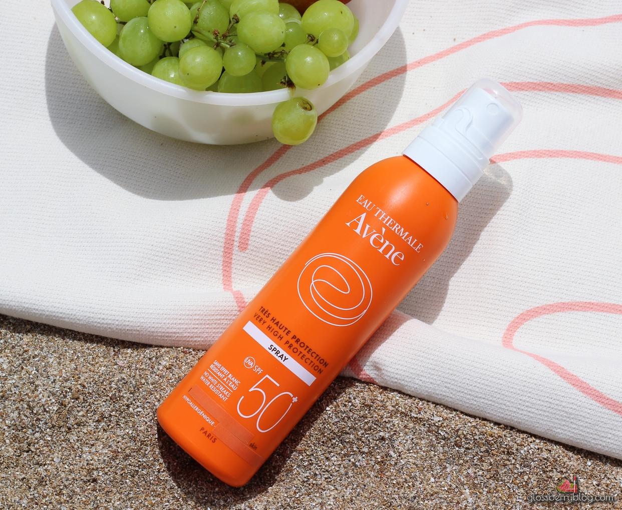 AVENE - Very High Protection Spray SPF50 אוון מקדם הגנה מהשמש מסנן קרינה גלוסברי בלוג איפור וטיפוח