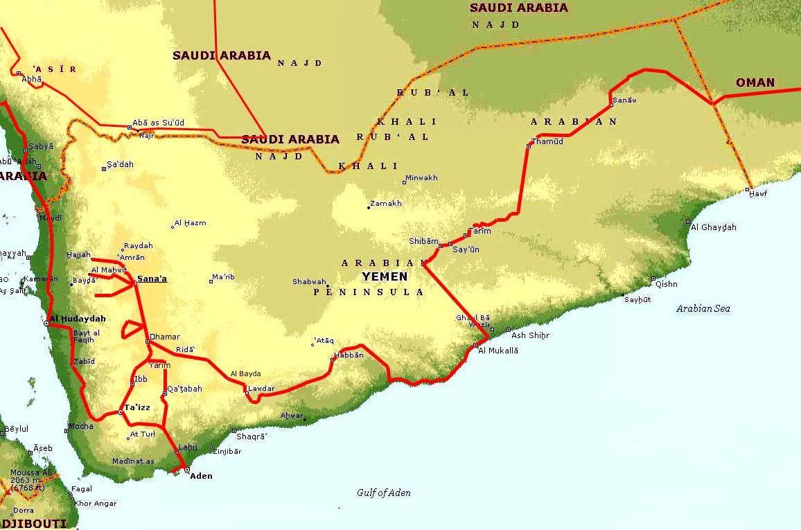 Yemen, Geographical Maps of Yemen