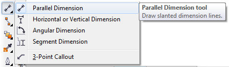 Mengenal bagian CorelDRAW - Parallel Dimension Tool