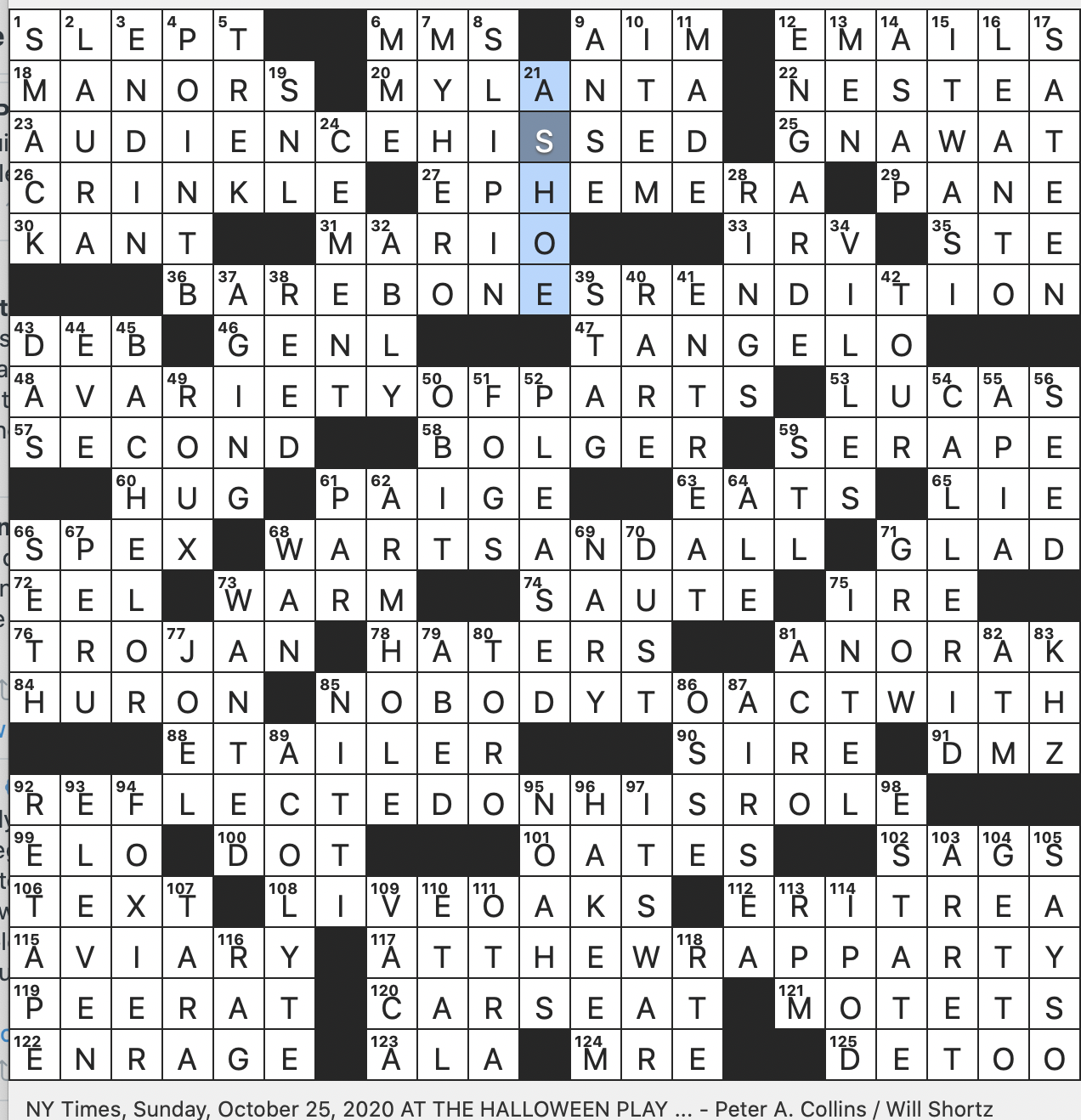 Rex Parker Does The Nyt Crossword Puzzle Scarecrow Portrayer Sun 10 25 20 Citrus Fruit With Portmanteau Name No Go Area In Brief Indiana City That S 100 Miles West Of Lima Ohio Capone Contemporary