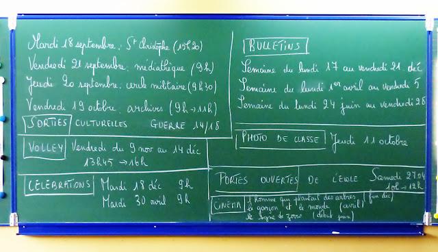 École élémentaire CNDI, Tourcoing - Tableau noir