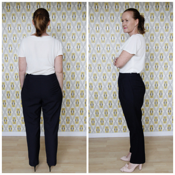 the side and back views of a white lady wearing navy blue pants and a white top