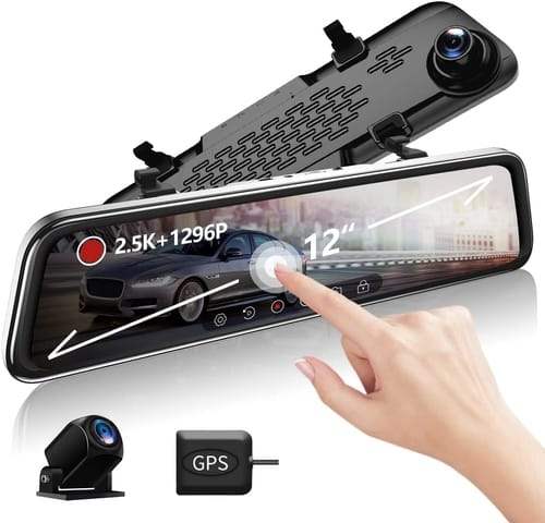 KooBaCar 1296P Mirror Dash Cam for Cars with GPS