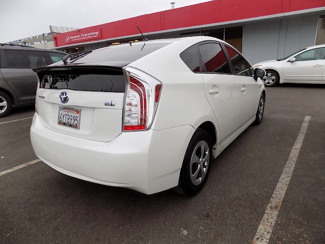 Prius rear bumper and tailgate damage after repairs at Almost Everything Auto Body.