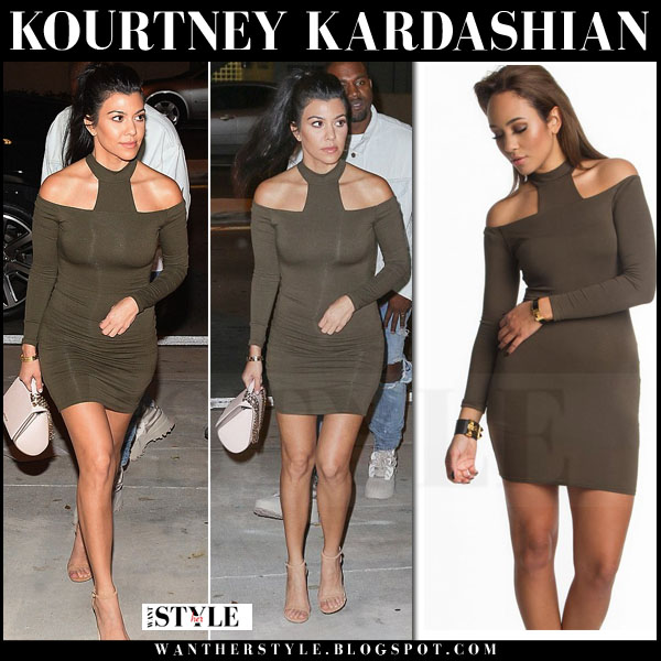 Kourtney Kardashian in khaki green off shoulder mini dress with beige ankle strap sandals what she wore nigh out