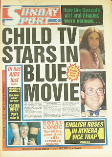 Vintage front page of UK tabloid newspaper the Sunday Sport
