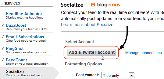Cara Menghubungkan Feedburner Blog ke Twitter