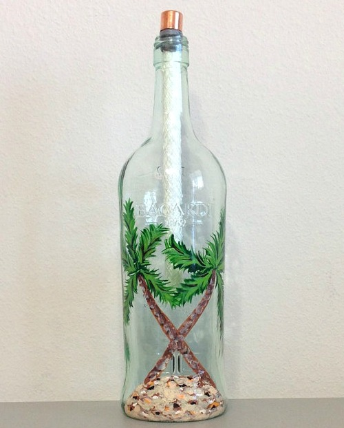 Painted Bottle Tiki Torch Lamp