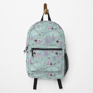 Seashell Patterned backpack in Aqua, turquoise, pink, and white