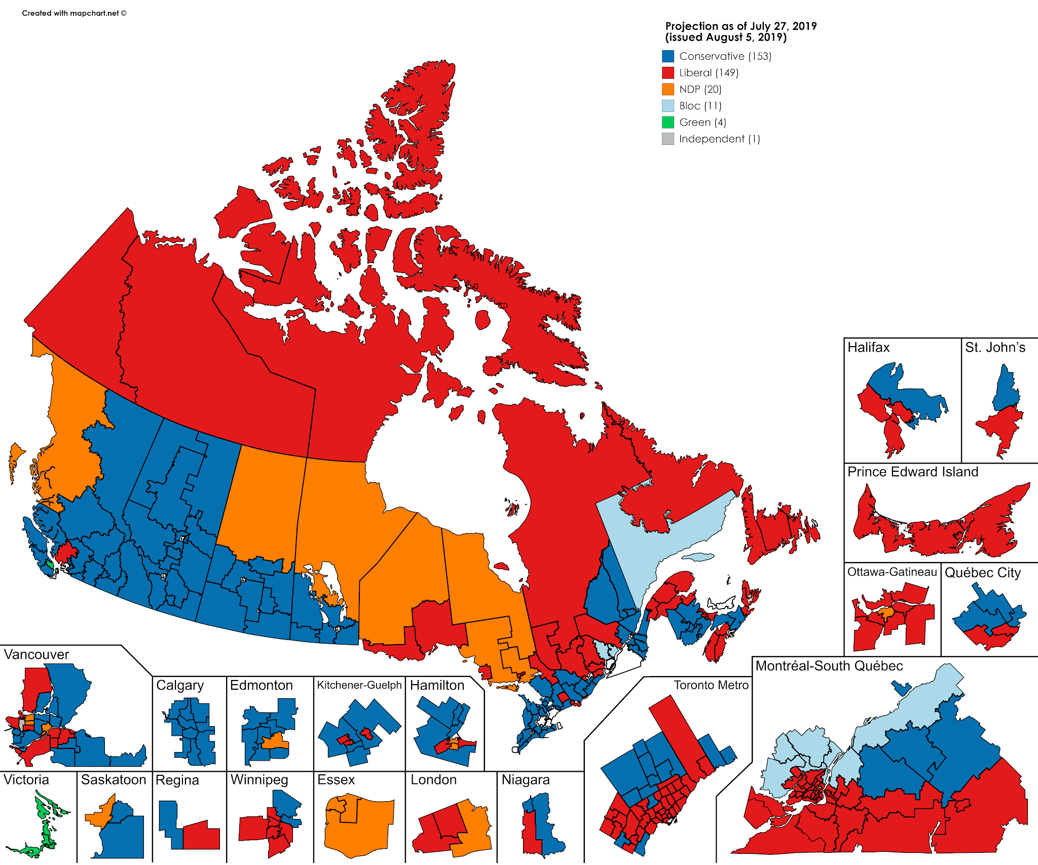 Canada Election Polls Map Canadian Federal Election polling projection as of July 27th : MapPorn