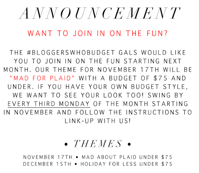 Bloggers who budget announcement