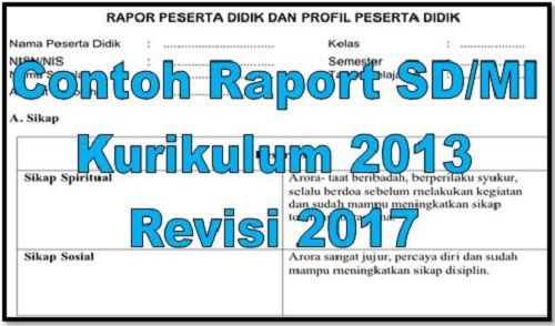 Download Contoh Raport SD/MI Kurikulum 2013 Revisi 2017
