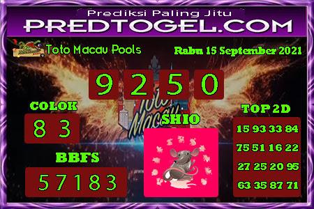 Pred Macau Rabu 15 September 2021