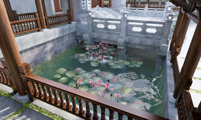 Hồ sen giữa nhà