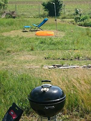 Grill, Sonnenstiuhl, Gartendusche und Wiese.