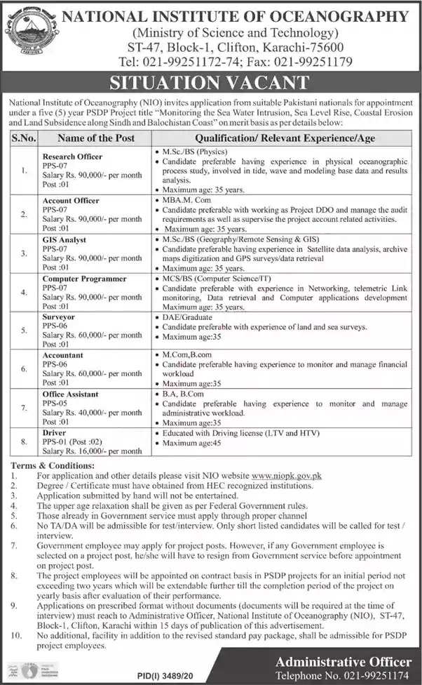 National Institute of Oceanography Karachi Jobs 2021 Application Form Drivers and Others