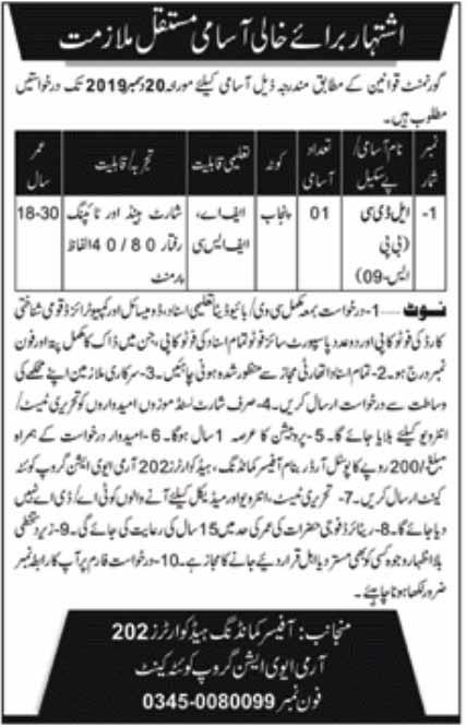 F.A Fsc Level Jobs in Pak Army Headquarter 202 Army