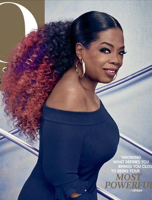 Oprah's low, curly ponytail