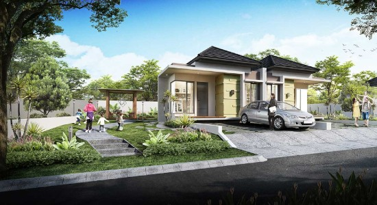 tampak depan rumah minimalis ukuran 12x15 meter 3 kamar tidur 1 lantai