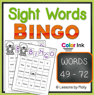https://www.teacherspayteachers.com/Product/sight-words-BINGO-words-49-through-72-COLOR-ink-421505