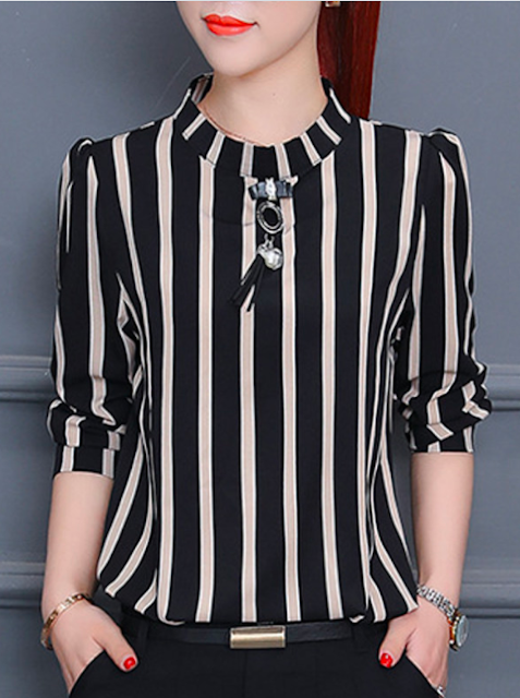 Black striped blouse for women