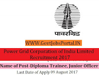 Power Grid Corporation of India Limited Recruitment 2017– 38 Diploma Trainee, Junior Officer