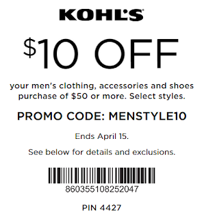 Kohls coupon $10 off $50 Men's Apparel