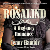 ROSALIND: A Regency Romance audiobook cover. A young woman in an empire-line dress.
