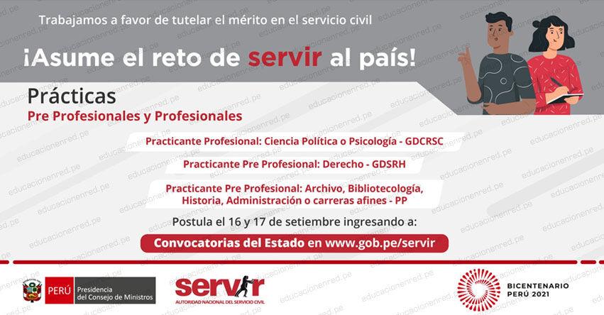 SERVIR: Cronograma Convocatoria Prácticas Pre-Profesionales (Especialidades: Archivo, Biblioteca, Historia, Administración o carreras afines por la formación profesional)
