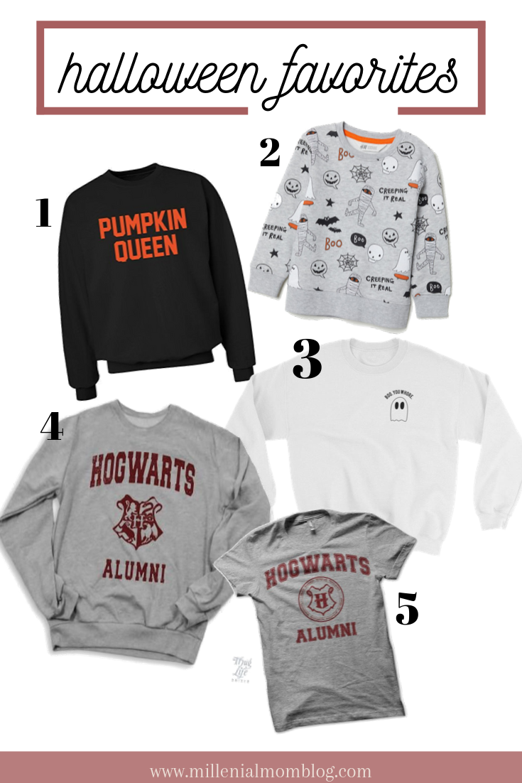 Festive halloween sweatshirts and tees for women and kids