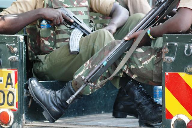Elgeyo Marakwet Three police officers on patrol photo