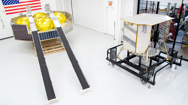 A full-scale mock-up of the Griffin lander and a structural test article for the Peregrine lander...on display at Astrobotic's facility in Pittsburgh, Pennsylvania.