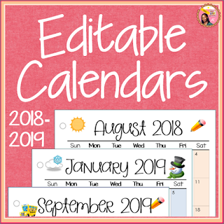 Monthly Calendars 2018-2019 Editable