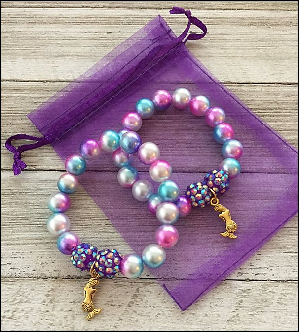 Mermaid Charm Bracelets - Mermaid Party Favors  mermaid party decorations - mermaid party ideas - mermaid themed birthday party - ocean theme party decorations - under the sea party - little mermaid birthday party ideas - beach party - water theme parties - mermaid table decor - party props  under the sea birthday party - mermaid balloons - mermaid jewels party favors