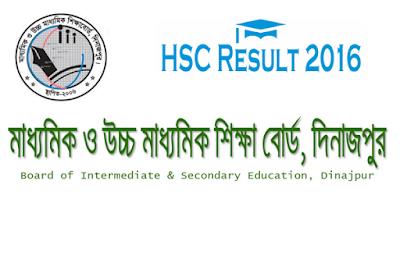 HSC result 2016 Dinajpur board