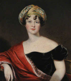 Harriet, Countess Granville, by Thomas Barber   the elder (1809-10), at Hardwick Hall,   National Trust via Wikimedia Commons