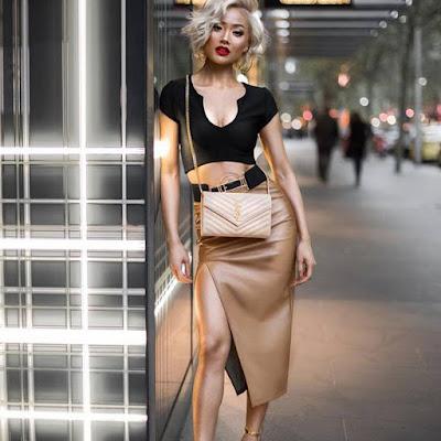 Short Sleeve Vest + PU Skirt Suit With High Slit