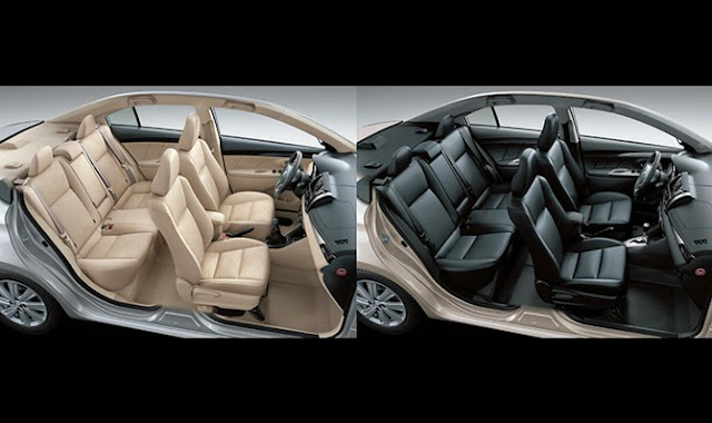 Nội thất Toyota Vios 1.5E (trái) và Toyota Vios 1.5G (phải)