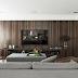 Sala de tv sofisticada com painel de folha de ébano macassar - tendência!